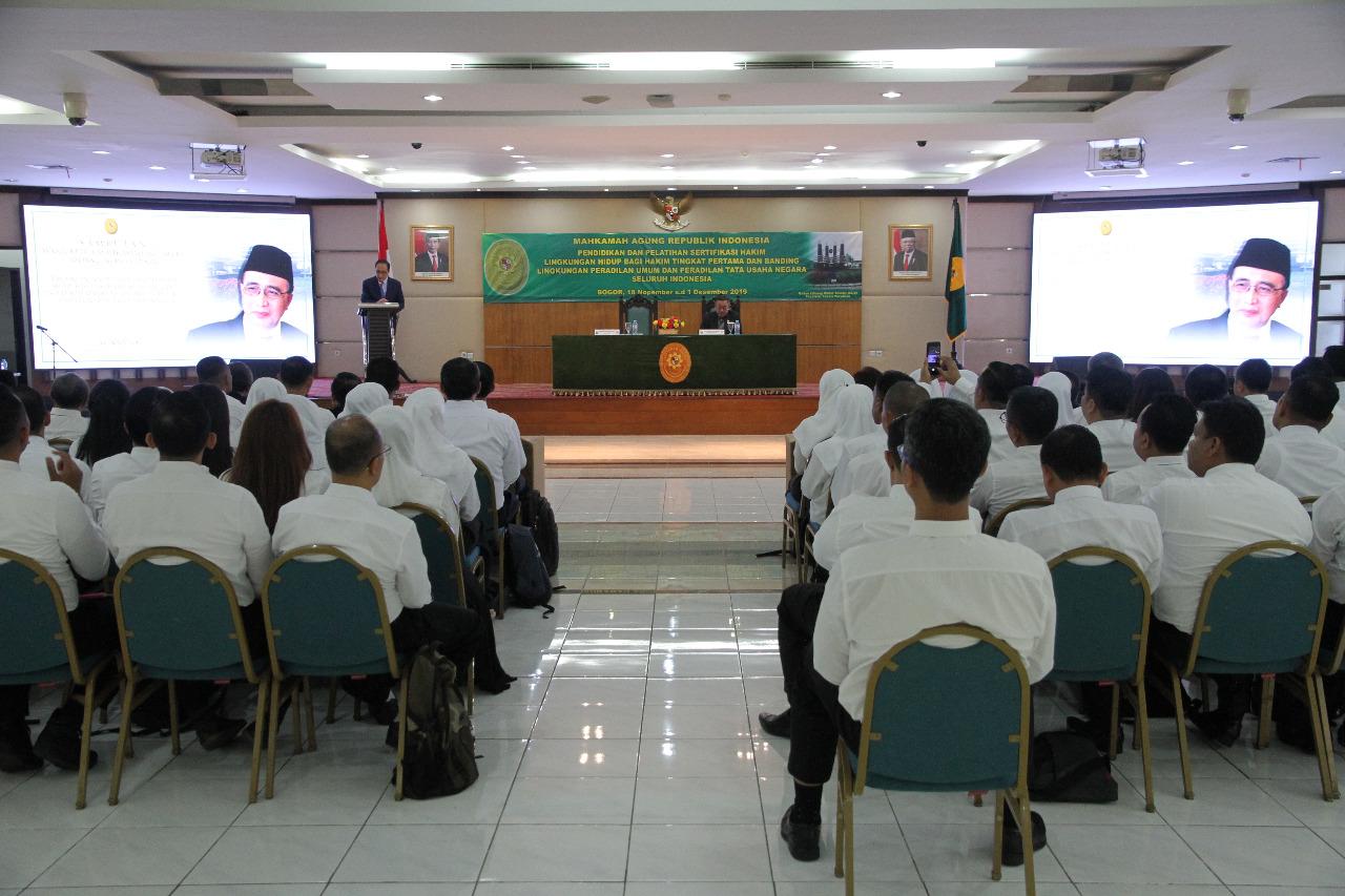 Wakil Ketua Ma Bidang Non Yudisial Membuka Acara Pendidikan Dan Pelatihan Sertifikasi Hakim Lingkungan Hidup